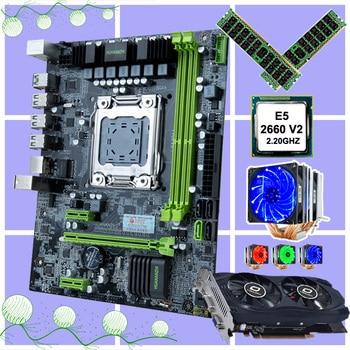 HUANANZHI X79-6M набор материнских плат двойной M.2 слот SSD Процессор Intel Ксеон E5 2660 V2 с кулер Оперативная память 32G(2*16G) rec видеокарта GTX750TI