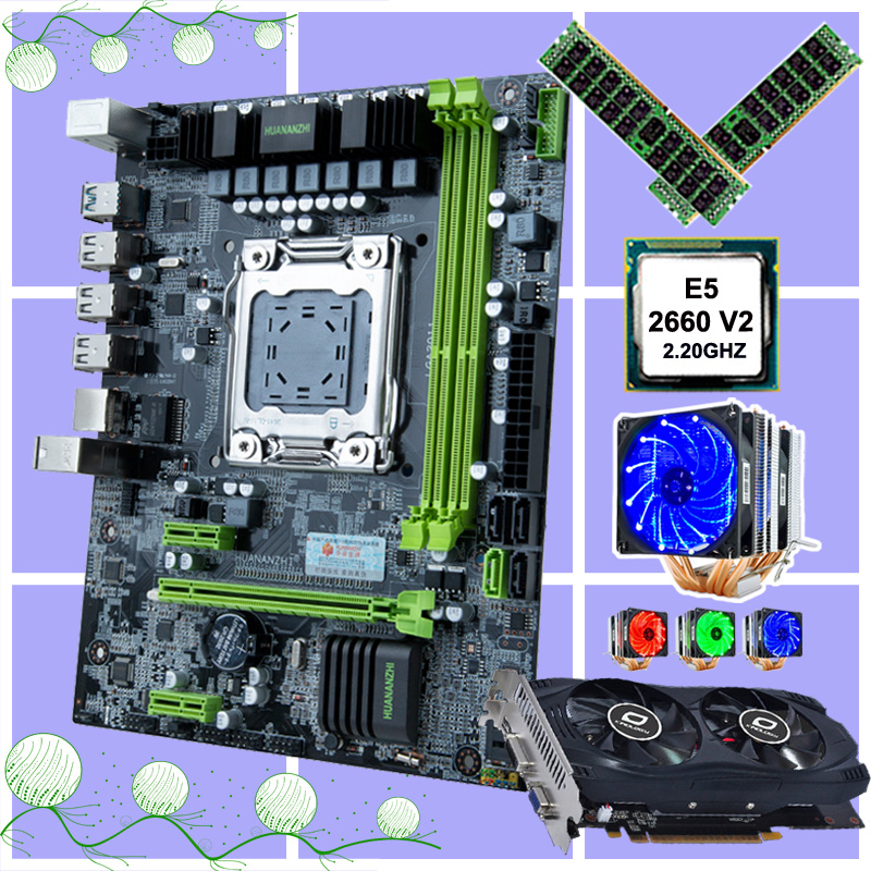 HUANANZHI X79 6M motherboard set discount motherboard with CPU Intel <font><b>Xeon</b></font> E5 <font><b>2660</b></font> V2 cooler RAM 32G(2*16G) video card GTX750TI image