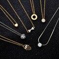 Moda jóias zircão CZ bow-nó mão algarismos Romanos coração pingente de colar de presente para as mulheres menina N2024