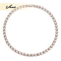 Vivari 2017 Health 4in1 Magnetic Stainless Steel Women Necklace 2 Tone Rose Gold Magnet 316L Pretty Jewelry Neckwear Charm