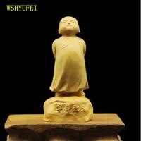 WSHYUFEI Boxwood carving Buddha statue Maitreya Buddha Wood carving Engraved piece Arts and Crafts Automobile ornaments