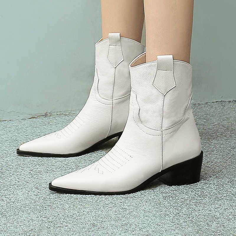 WETKISS yarım çizmeler Batı Kadın Inek Deri Patik Tıknaz Topuklu Ayakkabı Kadın Kovboy Ayakkabı Bayanlar Sivri Burun Ayakkabı Kış 2020