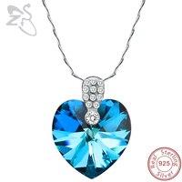 Nefis Mavi Avusturya Kristal Zirkonya Okyanus Kalp Kolye Kolye Kadınlar için 925 Ayar Gümüş Link Zinciri Kolye Düğün