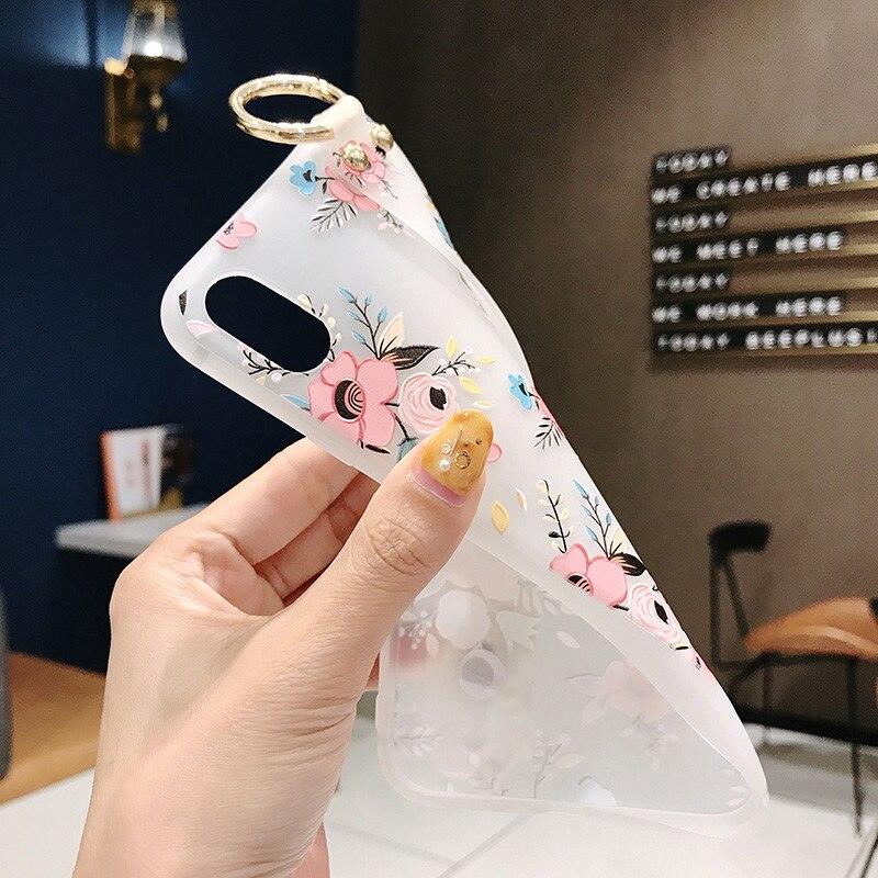 Image 4 - Kwiat wzór miękkie silikonowy pasek na nadgarstek uchwyt na telefon dla iphone X Xs max XR 6 6 S plus etui na telefony pokrywa Coque dla iphone 7 8Dopasowane obudowy   -