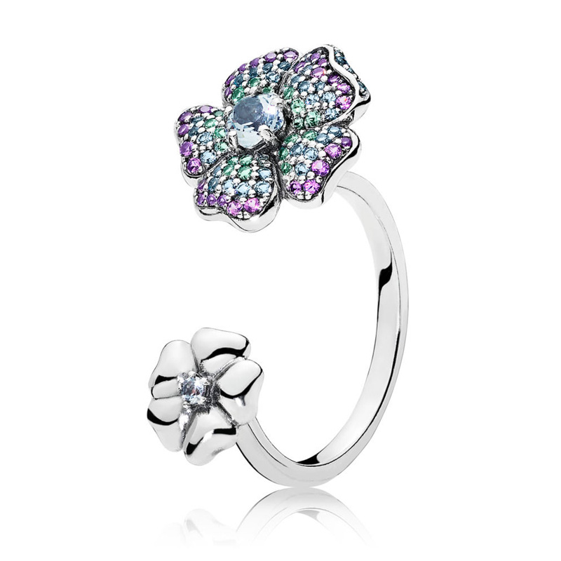 Authentic 925 Sterling Silver Ring Glorious Blooms Openwork Rings For Women Wedding Party Gift Fine Pandora Jewelry trendy environmental alloy openwork width ring for women