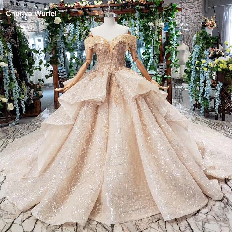 HTL442 robes de mariée de luxe avec train