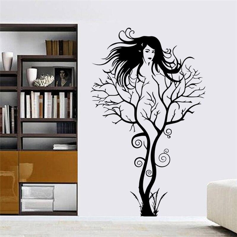 kreative sexy mdchen fee zweig wandtattoos fr schlafzimmer abnehmbare dekoration baum aufkleber diy vinyl kunst schwarz - Dekoration Baum