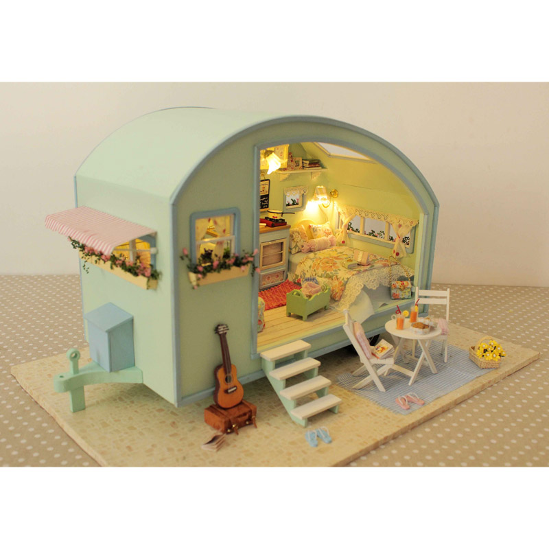 DIY Tour Of Time Wooden Dollhouse Miniature Kit Doll House LED Music Voice Control Handmade Kits Travel Caravan For Girls wooden handmade dollhouse miniature diy kit caravan