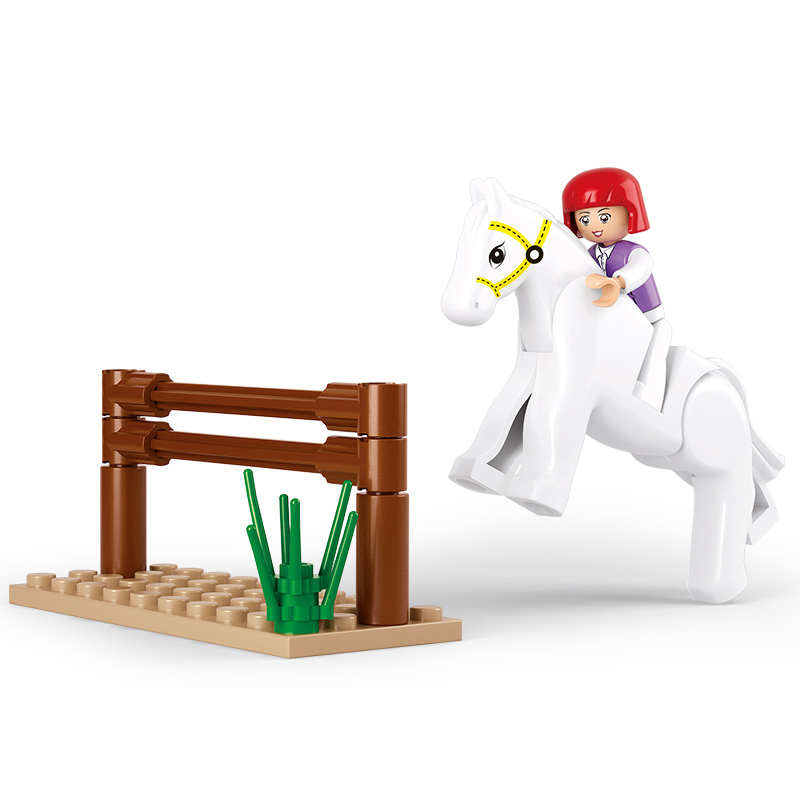 0517 SLUBAN Girl Friends Horse Racing Model Building Blocks Classic Enlighten DIY Figure Toys For Children Compatible Legoe 1700 sluban city police speed ship patrol boat model building blocks enlighten action figure toys for children compatible legoe