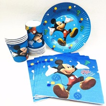 40pc/set Mickey Mouse Birthday Party Tableware Cup/Plate/Napkin Supplies Favors Event Theme Decoration