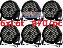 6xLot DJ Necessity Disco DMX Lamp LED Par Light 18x12W RGBW Quad Color Home Party Lights DJ Equipment Stage Effect Beam Lighting