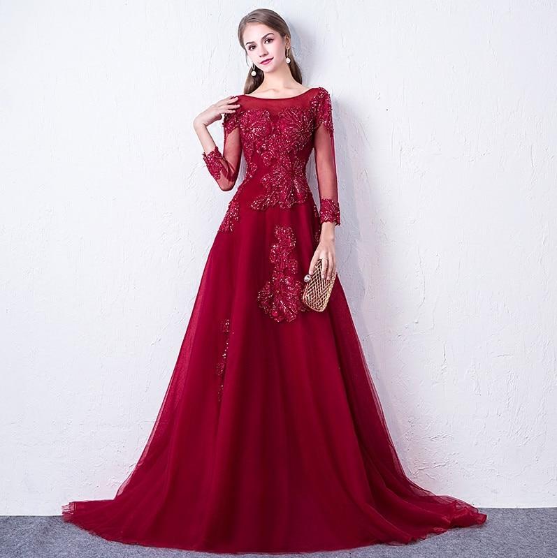 Abendkleider 2018 Գինու կարմիր երեկոյան զգեստ - Հատուկ առիթի զգեստներ - Լուսանկար 4