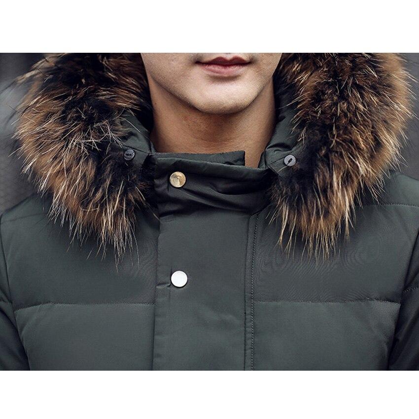 Livraison gratuite hommes doudoune fourrure col manteau élégant hiver veste hommes longue imperméable Parka vers le bas manteau pour homme 200hfx - 4