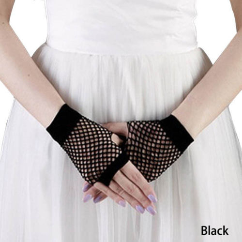 Womens Girls Black Short Fishnet Gloves Fingerless Gothic Punk Rock Costume Fancy Party Accessories