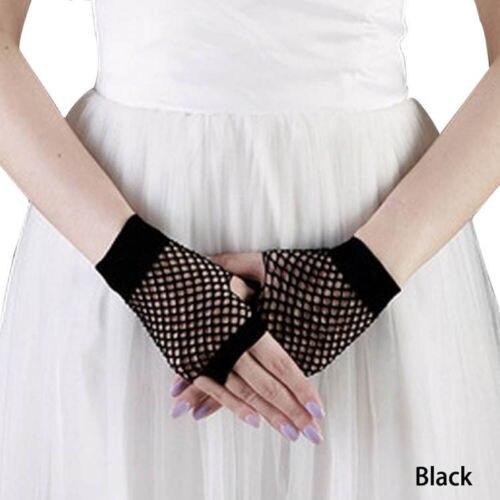 Womens Girls Black Short Fishnet Gloves Fingerless Gothic Punk Rock Costume Fancy Party Accessories