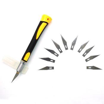 Antypoślizgowe metalowe skalpel + 10 sztuk SK5 ostrza rzeźbione w drewnie noże owoce sztuka jedzenie nóż rzeźbiarski do grawerowania narzędzia ręczne WL-9302S tanie i dobre opinie WLXY Maszyny do obróbki drewna ABS Silicone STAINLESS STEEL Wielu nóż Multi Functional Knife 10 PCS Support Sculpture Knife