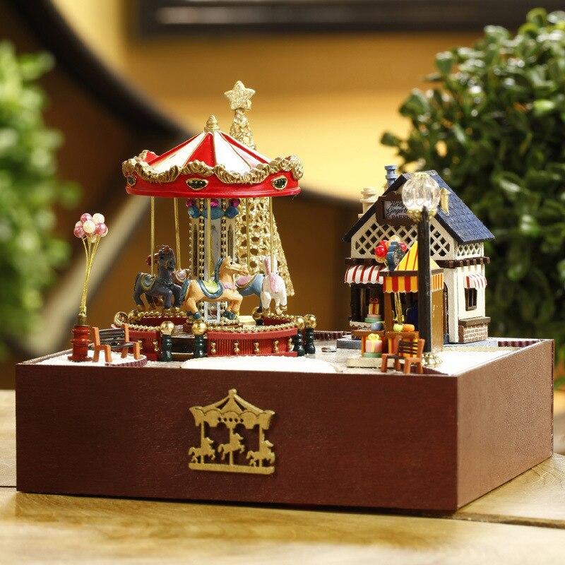DIY деревянный Миниатюрный Кукольный дом Мебель игрушка Miniatura головоломки модель Кукольный домик творческий подарок на день рождения-карусе...