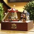 Diy Wooden Miniature Doll House Furniture  Toy  Miniatura Puzzle Model  Dollhouse Creative Birthday Gift-Carousel happy garden