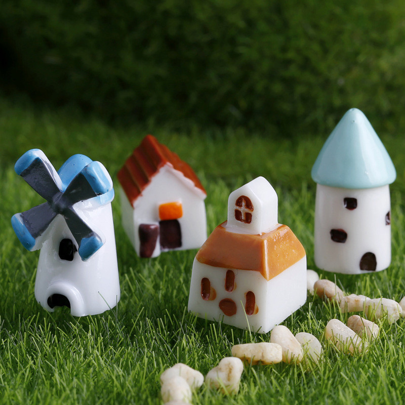 4 pieces set Kawaii Pastoral Resin Mini building DIY Garden bonsai Decoration Miniature Windmill Church House Castle Warm Home