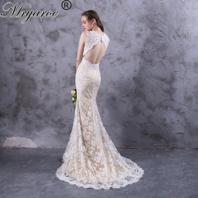 2137f0f4773 Mryarce vestido de novia Keyhole Back Lace Mermaid Wedding Dresses Marriage  Dress V Neck Princess Bridal Gowns