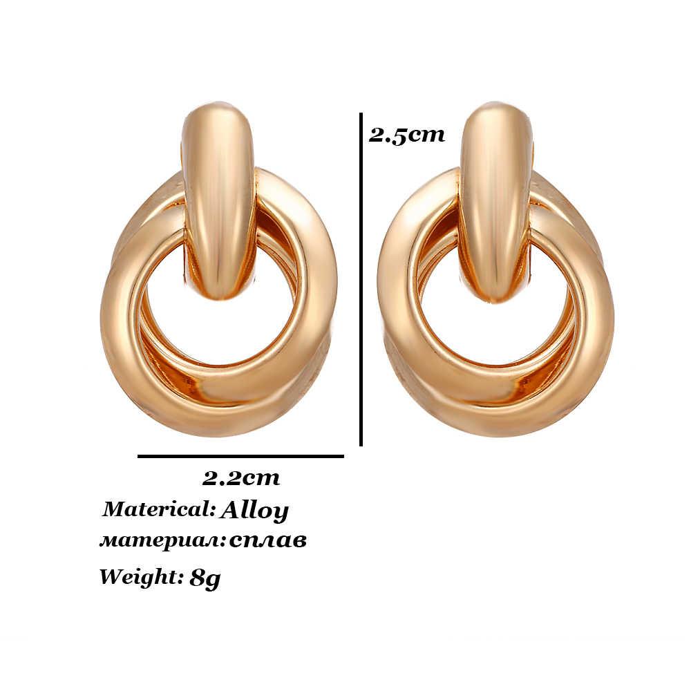 2019 แฟชั่นคลาสสิกทองสี Twisted Love Knot ต่างหูขนาดเล็กทางเรขาคณิตต่างหูงานแต่งงานเครื่องประดับเจ้าสาว