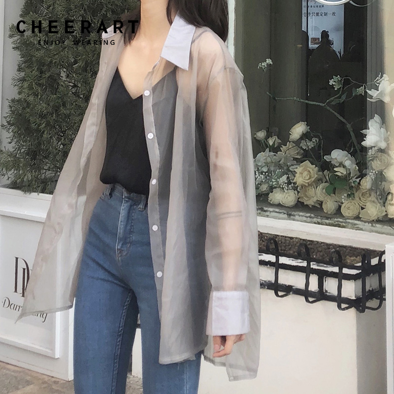 9b0c0e035567c Cheerart Transparent Blouse Women Sheer Top See Through Shirt Long Sleeve  Ladies Tulle Top 2019 Spring