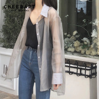Cheerart Transparent Blouse Women Sheer Top See Through Shirt Long Sleeve Ladies Tulle Top 2019 Spring Summer Clothing
