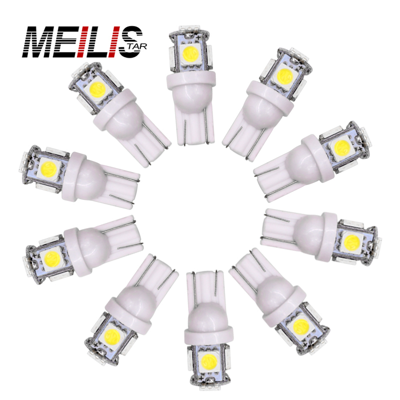10pcs Auto T10 5 LED 1W 5050 W5W Wedge Door Parking Bulb Light Car 5W5 LED Dome Festoon C5W C10W License Plate Light Xenon DRL