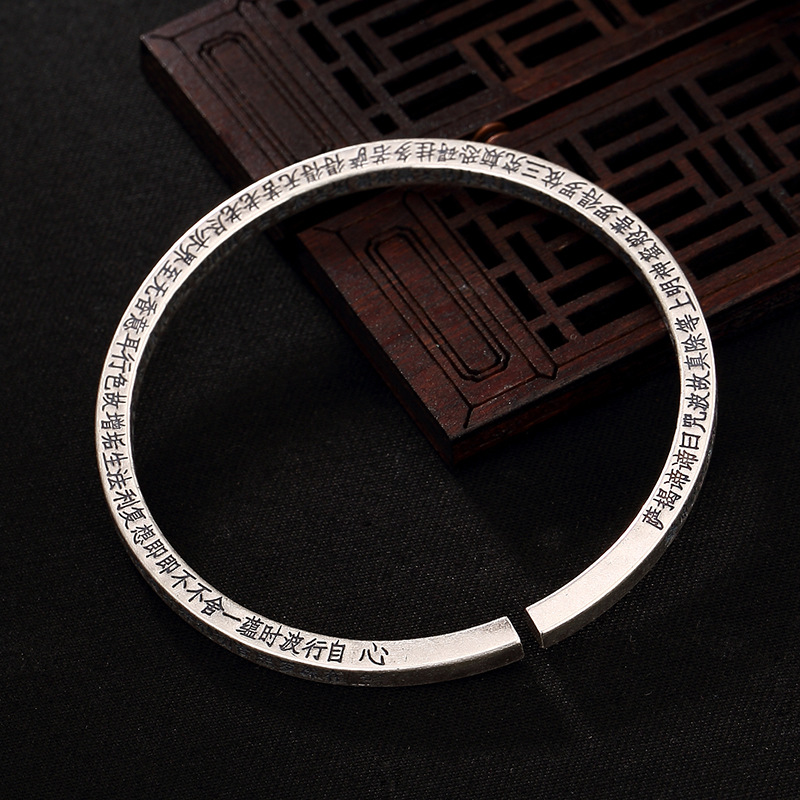 S990, Silver, Heart, Solid, Square, Solid Silver, Antique Open, Thai Silver, Ladies' Bracelet, Bracelet, Wholesale. цены