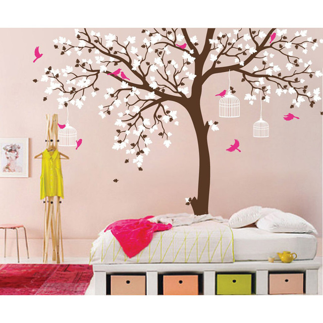 Romantic Flower large Tree Birds Removable Vinyl Nursery Art Decals PVC Poster Wall Stickers for Baby Kids Room Home Decoration