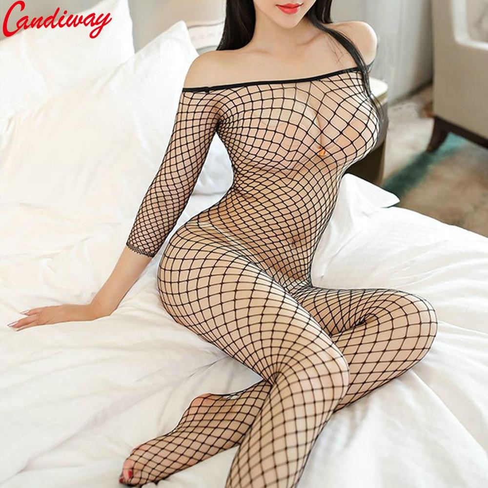 Plus Sexy Lingerie Fishnet Bodystockings Erotic Temptation Clothing Big Netting Hole Bodysuit Transparent Underwear Costumes