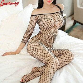 Plus Sexy Lingerie Fishnet Bodystockings Erotic Temptation Clothing Big Netting Hole Bodysuit Transparent underwear costumes - discount item  20% OFF Exotic Apparel