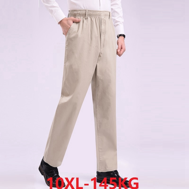 Pants Trouser Stretch Khaki 10XL Plus-Size Summer 8XL 9XL Elastic-Waist Casual Blue Man