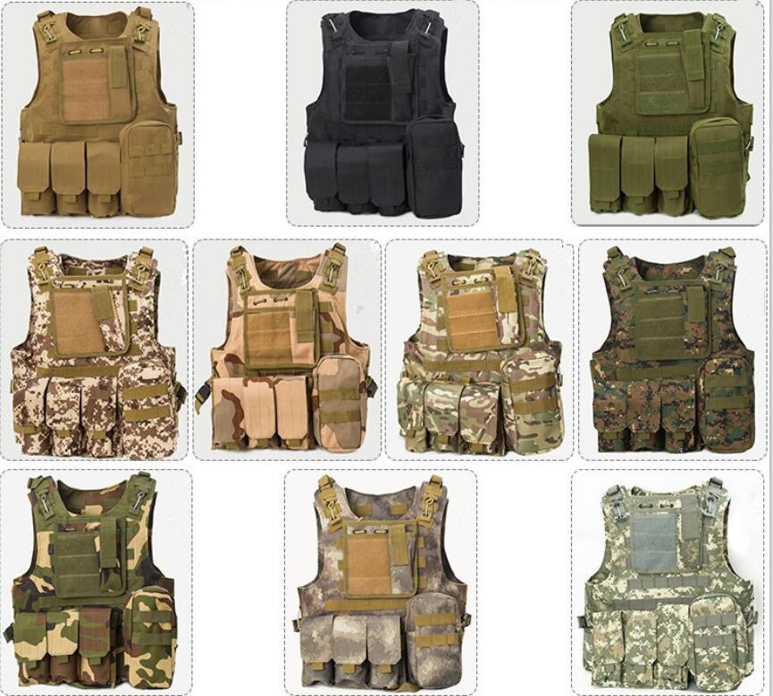 Hunting Military Airsoft MOLLE Nylon Combat Paintball Tactical Vest CS Outdoor Vest 10 Colours USMC Assault Plate Carrier Vest outdoor training mesh waistcoat safety clothing hunting equipment swat airsoft cs paintball tactical hunting combat assault vest