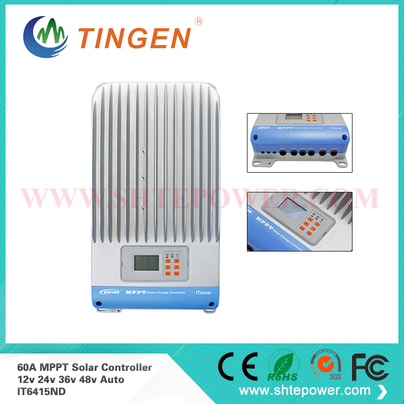 EPsolar 48v solar charge controller mppt 60a 12V 24V 36V 48V auto work with loads connection IT6415ND high quality 12v 24v 48v auto 60a mppt solar charge controller