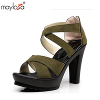 MAYLOSA Sexy Women Pumps Genuine Leather Open Toe Lace Up Heels Sandals Woman Sandals Thick With