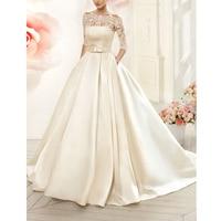 Vnaix W3099 Boat Neck Satin Wedding Dresses Long with Pocket Detachable Lace Three Quarter Jacket A Line Bridal Gowns
