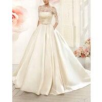 Vnaix W3099 Boat Neck Satin Wedding Dresses Long With Pocket Detachable Lace Three Quarter Jacket A