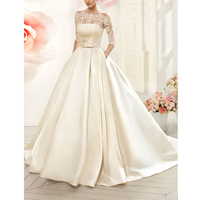 Vnaix W3099 Boat Neck Satin Wedding Dresses Long with Pocket Detachable Lace Three Quarter Jacket A Line Bridal Gowns