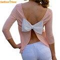 Nuevo Diseño Para Mujer Casual de Tres Cuartos Shirt Sexy Backless Arco Grande de La Camiseta Tops 160725 Envío de La Gota
