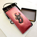 New Fashion PU Leather Women Wallet Vintage Punk Scorpions Wallets With Raindrops Pattern Creative Card Holders Change Purses