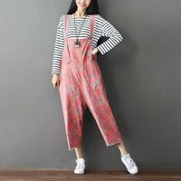 Female Cotton Jumpsuits New Arrival Flower Printed Casual Overalls Bib Pants Cute Girl Suspenders Trousers Rompers G081501