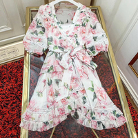 long Summer Sweet A Line Dress for Women short sleeve Lady Party Dress Office Lady 2019 Fashion Women Silk Dresses