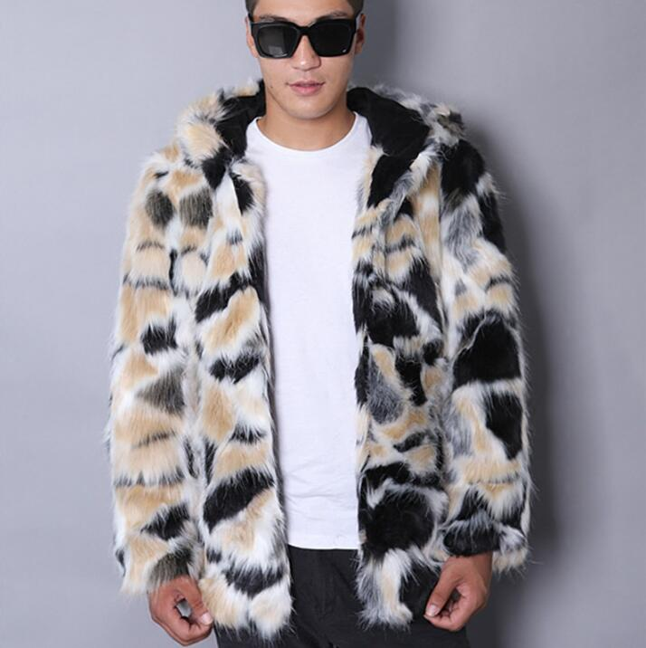 Warm casual faux mink rabbit fur coat mens leather jacket men coats villus winter loose thermal hooded outerwear fashion 2018