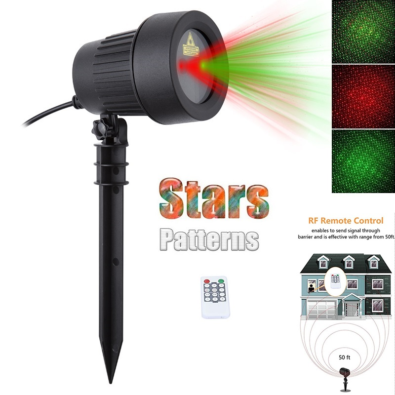 Xmas showers Christmas Laser Lights Stars  Projector Red Green Waterproof Static Twinkle With Remote Outdoor Garden lawn outdoor waterproof green lamp red garden tree laser landscape projector with 10 feet cable christmas lights star
