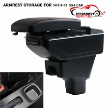 CITYCARAUTO BIGGEST+LUXURY+USB FOR SX4 Car armrest box central Storage content box with cup holder LED USB FIT FOR SUZUKI SX4