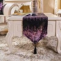 스트립 테이블 러너 placemats 고급 패브릭 커피 테이블 플래그 침대 러너 샤워 장식 조각 색상 테이블 러너 홈 & 가든 -