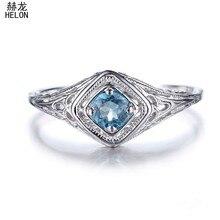1d819139e270 Sólido 14 K (585) oro Blanco 4mm corte redondo 100% genuino Topacio Azul  suizo art deco antiguo joyería mujeres anillo de compro.