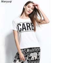 Summer white t shirt women o neck short sleeves t shirts printed letters casual tee tops clothing for women