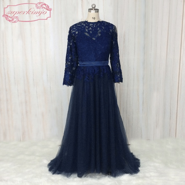Abendkleid lang dunkelblau spitze
